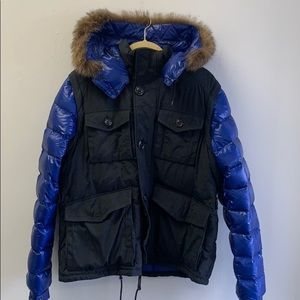Moncler blue puffer coat with fur hood